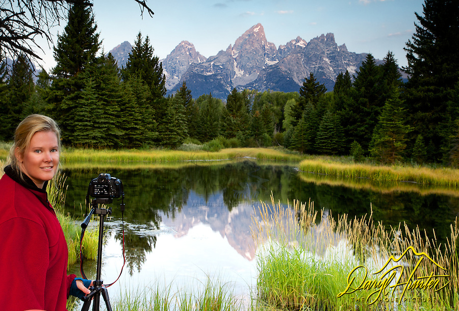 Lady photographer in red, Sunrise at Shwabacker's Landing in Grand Teton National Park
