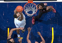 Richard Solomon of California dunks the ball during the game against Stanford at Haas Pavilion in Berkeley, California on February 5th, 2014.  Stanford defeated California, 80-69.