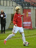 20151130 - LEUVEN ,  BELGIUM : Serbian Marija Radojicic  pictured during the female soccer game between the Belgian Red Flames and Serbia , the third game in the qualification for the European Championship in The Netherlands 2017  , Monday 30 November 2015 at Stadion Den Dreef  in Leuven , Belgium. PHOTO DIRK VUYLSTEKE