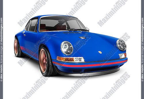 Blue 1991 Porsche 911 classic retro sports car isolated on white background with clippiing path