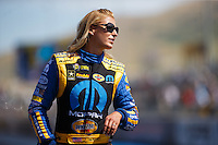 Jul 24, 2016; Morrison, CO, USA; NHRA top fuel driver Leah Pritchett during the Mile High Nationals at Bandimere Speedway. Mandatory Credit: Mark J. Rebilas-USA TODAY Sports