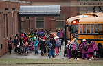 TORRINGTON, CT 17 DECEMBER- 121712JS02- Students make their way into Torringford School in Torrington on Monday as local children return to school following the deadly shooting in Newtown on Friday. Jim Shannon Republican American