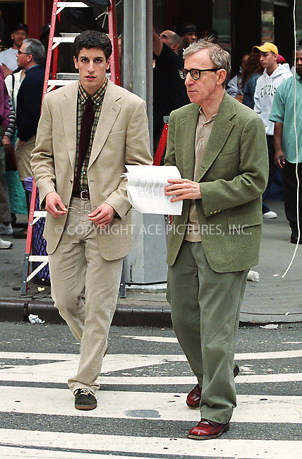 """Woody Allen and Jason Biggs filming """"Anything Else"""" on Broadway at 49th Street. New York, June 7, 2002. Please byline: Alecsey Boldeskul/NY Photo Press.   ..*PAY-PER-USE*      ....NY Photo Press:  ..phone (646) 267-6913;   ..e-mail: info@nyphotopress.com"""