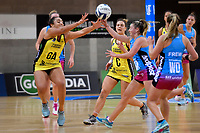 Pulse&rsquo; Tiana Metuarau and Steel's Gina Crampton in action during the ANZ Premiership - Pulse v Steel at Te Rauparaha Arena, Porirua, New Zealand on Wednesday 30 May 2018.<br /> Photo by Masanori Udagawa. <br /> www.photowellington.photoshelter.com