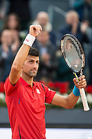 Serbian Novak Djokovic celebrating the victory and the championship during  TPA Finals Mutua Madrid Open Tennis 2016 in Madrid, May 08, 2016. (ALTERPHOTOS/BorjaB.Hojas) /NortePhoto.com
