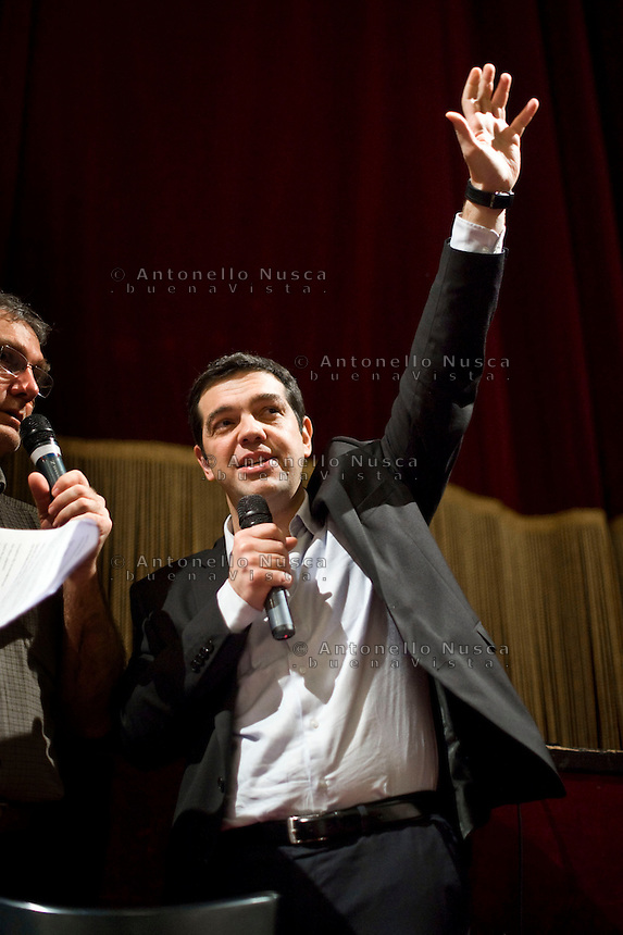 Roma, 7 Febbraio, 2014. Il leader di Syriza, il partito della sinistra greca, Alexis Tsipras durante il suo incontro con la sinistra italiana al Teatro Valle di Roma. Greek leftwing opposition leader Alexis Tsipras delivers his speech during a meeting with Italian leftwing activists held at the Teatro Valle theater.