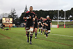 Jimmy Tupou leads the Steelers off after their warm-up. The game of Three Halves, a pre-season warm-up game between the Counties Manukau Steelers, Northland and the All Blacks, played at ECOLight Stadium, Pukekohe, on Friday August 12th 2016. Photo by Richard Spranger.