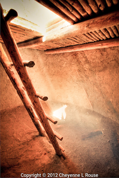 Ancient Kiva ladder - Alcove House - Bandeleier NM - New Mexico <br />