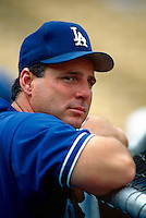 Mike Scioscia of the Los Angeles Dodgers during a game at Dodger Stadium in Los Angeles, California during the 1997 season.(Larry Goren/Four Seam Images)