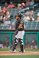 Roberto Pena (31) of the Salt Lake Bees during the game against the Reno Aces at Smith's Ballpark on June 27, 2019 in Salt Lake City, Utah. The Aces defeated the Bees 10-6. (Stephen Smith/Four Seam Images)