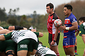 Referee Brandon Roberts call the forwards packs together at a scrum. Counties Manukau Premier Club Rugby game between Ardmore Marist and Manurewa, played at Bruce Pulman Park Papakura on Saturday May 12th 2018. Ardmore Marist won the game 20 - 3 after leading 17 - 3 at halftime.<br /> Ardmore Marist - Katetistoti Nginingini try, penalty try, Latiume Fosita conversion, Latiume Fosita 2 penalties.<br /> Manurewa - Logan Fonoti penalty.<br /> Photo by Richard Spranger.