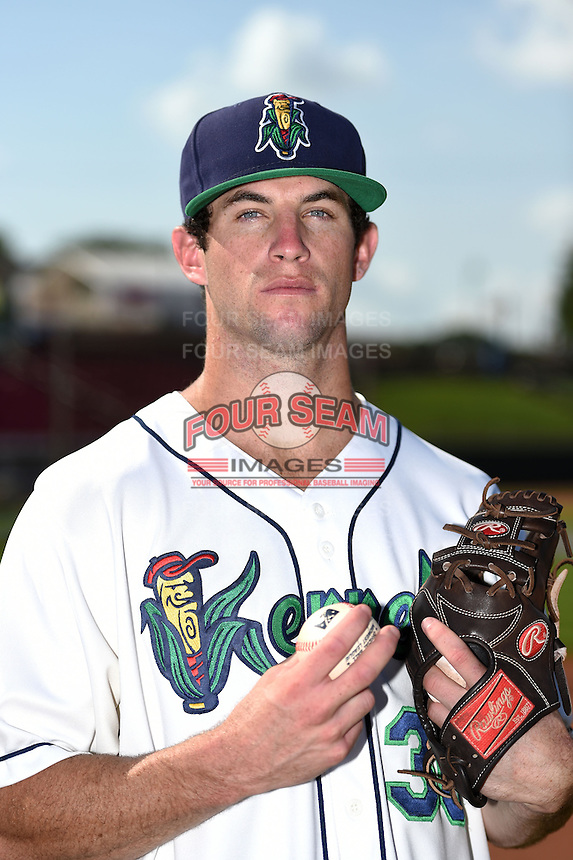 Cedar Rapids Kernels pitcher Jake Reed (36) poses for a photo before a game against the Quad Cities River Bandits on August 19, 2014 at Perfect Game Field at Veterans Memorial Stadium in Cedar Rapids, Iowa.  Cedar Rapids defeated Quad Cities 5-3.  (Mike Janes/Four Seam Images)
