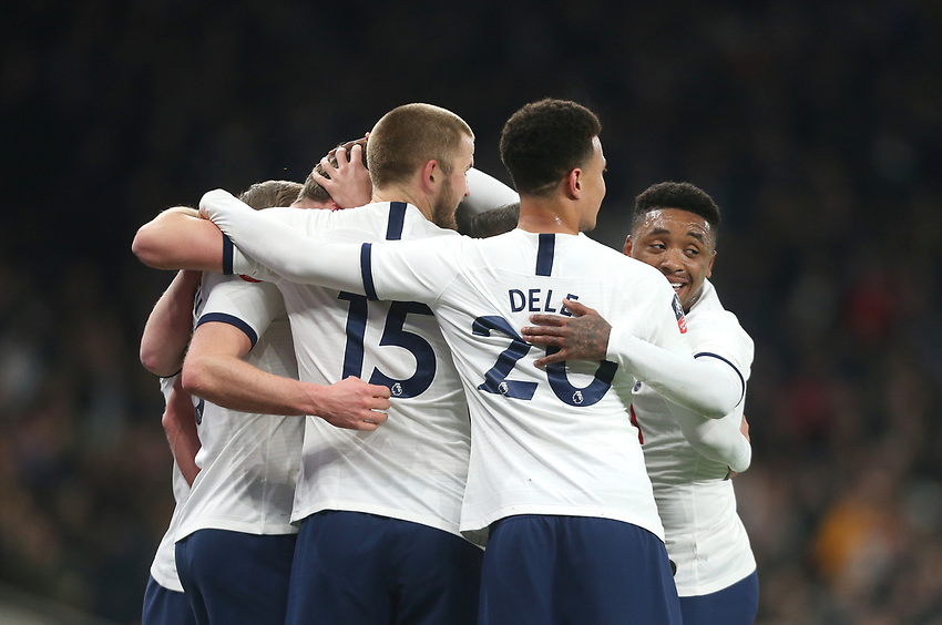 Tottenham Hotspur's Jan Vertonghen is congratulated after scoring his side's first goal <br /> <br /> Photographer Rob Newell/CameraSport<br /> <br /> The Emirates FA Cup Fifth Round - Tottenham Hotspur v Norwich City - Wednesday 4th March 2020 - Tottenham Hotspur Stadium - London<br />  <br /> World Copyright © 2020 CameraSport. All rights reserved. 43 Linden Ave. Countesthorpe. Leicester. England. LE8 5PG - Tel: +44 (0) 116 277 4147 - admin@camerasport.com - www.camerasport.com