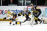 Stockholm 2013-12-07 Ishockey Elitserien AIK - Skellefte&aring; AIK :  <br /> Skellefte&aring;s Adam Pettersson i kamp om pucken med  AIK:s Jonas Liwing framf&ouml;r AIK:s m&aring;lvakt Daniel Larsson <br /> (Foto: Kenta J&ouml;nsson) Nyckelord:  AIK Skellefte&aring; SAIK