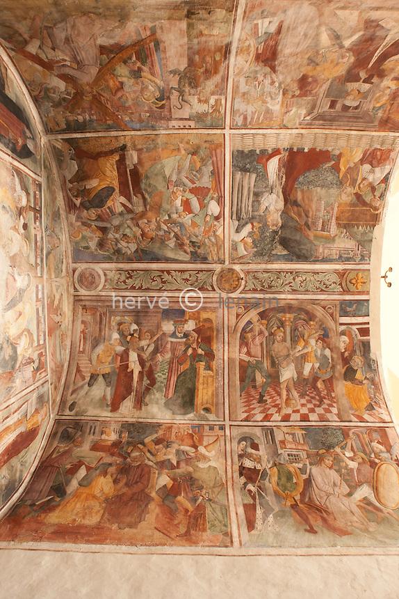 France, Alpes-Maritimes (06), Peillon, la chapelle des Pénitent Blancs, les fresques // France, Alpes Maritimes, Peillon, the chapel of Penitent Blancs, the frescoes