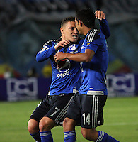 BOGOTA -COLOMBIA, 14-FEBRERO-2015. Javier Reina  jugador de Millonarios celebra un gol anotado a Cucuta Deportivo  durante partido por la fecha 4 de la Liga Águila I 2015 jugado en el estadio Nemesio Camacho El Campin  de la ciudad de Bogotá./ Javier Reina  player of Millonarios celebrates a goal scored to Cucuta Deportivo during match for the fourth date of the Aguila League I 2015 played at Metropolitano de Techo stadium in Bogotá city<br />  . Photo / VizzorImage / Felipe Caicedo  / Staff