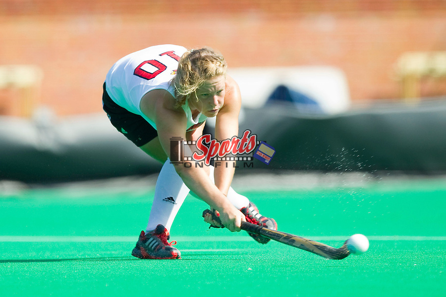 Alyssa Voelmle (10) of the Louisville Cardinals passes the ball during second half action against the Wake Forest Demon Deacons at Kentner Stadium on October 14, 2012 in Winston-Salem, North Carolina.  The Cardinals defeated the Demon Deacons 2-1.  (Brian Westerholt/Sports On Film)