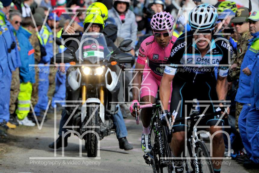 ITALIA. 31-05-2014. Nairo Alexander  Quintana Rojas -Col- (Movistar) (Izq) y Rigoberto Uran -Col- (Omega Pharma Quick-Step) (Der) durante su participación en la etapa 20 entre  Maniago y Monte Zoncolan con una distancia de 167 Km en la versión 97 del Giro de Italia hoy 22 de mayo de 2014. / Nairo Alexander  Quintana Rojas -Col- (Movistar) (L) and Rigoberto Uran -Col- (Omega Pharma Quick-Step) (R) during his participation on the 20th stage between Maniago and Monte Zoncolan with a distance of 167 km in the 97th version of Giro d'Italia today May 22th 2014 Photo: VizzorImage/ Marco Alpozzi / LaPresse<br /> VizzorImage PROVIDES THE ACCESS TO THIS PHOTOGRAPH ONLY AS A PRESS AND EDITORIAL SERVICE AND NOT IS THE OWNER OF COPYRIGHT; ANOTHER USE HAVE ADDITIONAL PERMITS AND IS  REPONSABILITY OF THE END USER