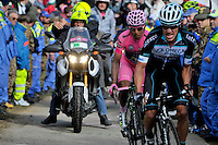 ITALIA. 31-05-2014. Nairo Alexander  Quintana Rojas -Col- (Movistar) (Izq) y Rigoberto Uran -Col- (Omega Pharma Quick-Step) (Der) durante su participación en la etapa 20 entre  Maniago y Monte Zoncolan con una distancia de 167 Km en la versión 97 del Giro de Italia hoy 22 de mayo de 2014. / Nairo Alexander  Quintana Rojas -Col- (Movistar) (L) and Rigoberto Uran -Col- (Omega Pharma Quick-Step) (R) during his participation on the 20th stage between Maniago and Monte Zoncolan with a distance of 167 km in the 97th version of Giro d'Italia today May 22th 2014 Photo: VizzorImage/ Marco Alpozzi / LaPresse<br /> VizzorImage PROVIDES THE ACCESS TO THIS PHOTOGRAPH ONLY AS A PRESS AND EDITORIAL SERVICE AND NOT IS THE OWNER OF COPYRIGHT; ANOTHER USE HAVE ADDITIONAL PERMITS AND IS  REPONSABILITY OF THE END USER