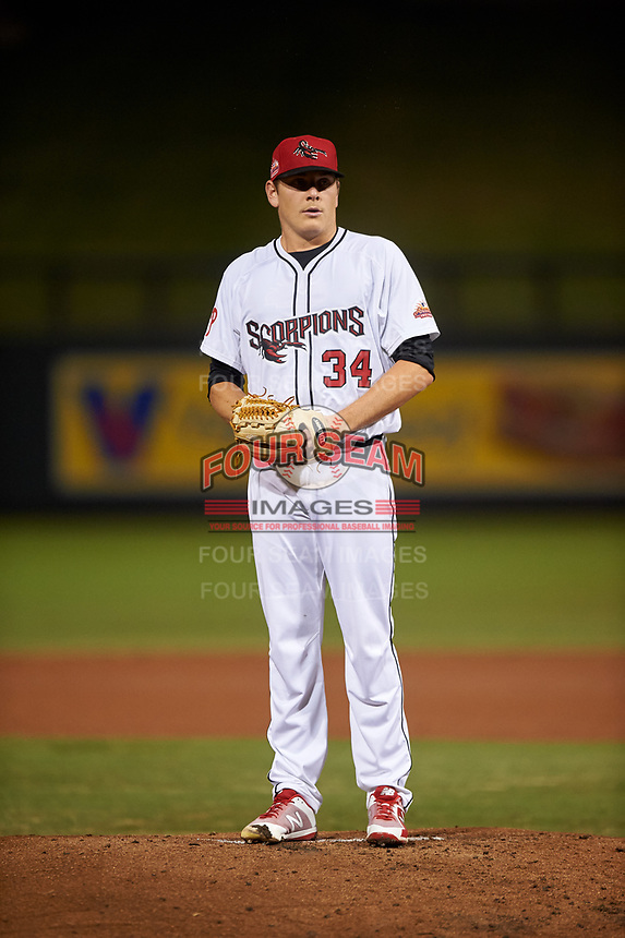 Scottsdale Scorpions starting pitcher Spencer Howard (34), of the Philadelphia Phillies organization, during an Arizona Fall League game against the Glendale Desert Dogs on September 20, 2019 at Salt River Fields at Talking Stick in Scottsdale, Arizona. Scottsdale defeated Glendale 3-2. (Zachary Lucy/Four Seam Images)