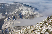 Cannon Mountain in winter conditions from along the Appalachian Trail (Franconia Ridge Trail), near Mount Lincoln, in the White Mountains, New Hampshire.