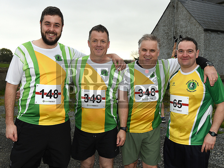 James Dunne, Alan and Michael McMahon and Pat Carron who took part in the Noel Carroll 10k race at Annagassan. Photo:Colin Bell/pressphotos.ie
