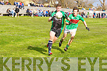 Michael Brennan (churchill) in action with Tommy Hayes (Beale) in the Div 4 Credit Union County Senior Football League on Sunday at Churhill GAA grounds.