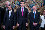 King Felipe VI of Spain and the president of Supreme Court of Spain, Carlos Lesmes (L) during the audience to a representation of the participants in the elaboration of legal spanish dictionary in Madrid. May 11, 2016. (ALTERPHOTOS/Borja B.Hojas)
