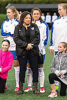 Allston, MA - Saturday, May 07, 2016: Boston Breakers forward Stephanie McCaffrey (9) and her mother during a regular season National Women's Soccer League (NWSL) match at Jordan Field.