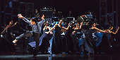 """12/05/2015. London, England. Liam Francis on the left. Rambert Dance Company perform the World Premiere of """"Dark Arteries"""" by Mark Baldwin as part of a triple bill at Sadler's Wells Theatre. Rambert perform with the Tredegar Town Band and the Rambert Orchestra from 12 to 16 May 2015."""
