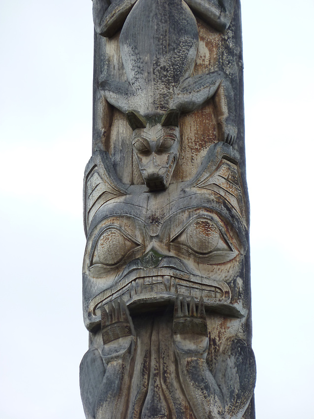 Totem pole of Gitanyow Band, which has lost two women on the Highway of Tears