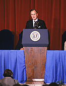 United States President George H.W. Bush makes remarks at the swearing-in ceremony for US Secretary of the Interior Manuel Lujan Jr. at the Department of Interior Auditorium in Washington, D.C. on February 8, 1989.<br /> Credit: Ron Sachs / CNP