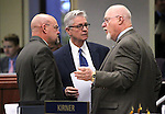 Nevada Assembly Republicans Ira Hansen, Erven Nelson and Randy Kirner talk on the Assembly floor at the Legislative Building in Carson City, Nev., on Friday, May 22, 2015. <br /> Photo by Cathleen Allison