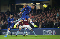Chelsea's Mason Mount heads the ball towards the Aston Villa goal during Chelsea vs Aston Villa, Premier League Football at Stamford Bridge on 4th December 2019