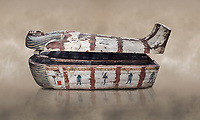 "Ancient Egyptian wooden sarcophagus - the coffin of Puia circa 1800BC - Thebes Necropolis. Egyptian Museum, Turin. <br /> <br /> From about 100BC ""anthropoid "" sarcophagi with fihure shaped lids started to replace rectangular coffins. Pia was probably the son of Puyemre, a high official of Thebes and second priest of Amon under the woman pharoah, Hatshepsut (1479-1458). The sarcophagus was excavated by Robert Mond from a shaft grave found close to the tomb of Puyemre in Thebes Necropolis."