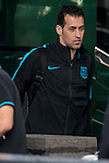 Sergio Busquets arrives at the team hotel the day before UEFA Champions League match between Atletico de Madrid and FC Barcelona at Hotel Eurostars in Madrid. April 13, 2016. (ALTERPHOTOS/Borja B.Hojas)