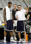 USA's coach Mike Krzyzewski (r) and Carmelo Anthony during training session.July 23,2012(ALTERPHOTOS/Acero)