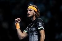 15th November 2019; 02 Arena. London, England; Nitto ATP Tennis Finals; Stefanos Tsitsipas (Greece) celebrates winning the first set against Rafael Nadal (Spain) - Editorial Use