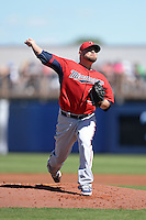 Pitcher Ricky Nolasco (47) of the Minnesota Twins during a spring training game against the Tampa Bay Rays on March 2, 2014 at Charlotte Sports Park in Port Charlotte, Florida.  Tampa Bay defeated Minnesota 6-3.  (Mike Janes/Four Seam Images)