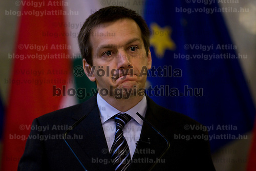 Hungarian prime minister Gordon Bajnai attends his first international press conference since his inauguration.