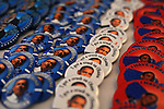 Barack Obama pins on sale at an exhibit on the American presidential experience at Invesco Field in Denver, Colorado on August 22, 2008.   The Democratic National Convention officially kicks off Monday August 25, 2008 at the nearby Pepsi Center.