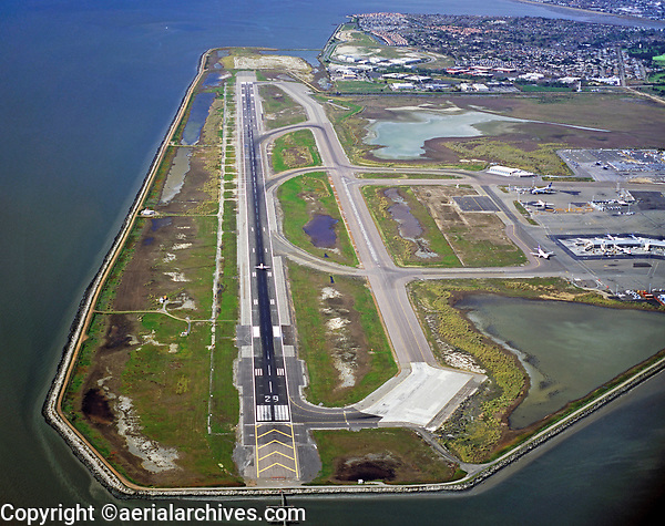 aerial photograph runway 29 Oakland International airport