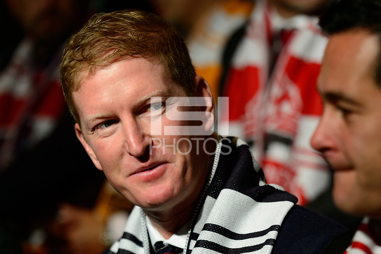 Philadelphia, PA - Friday January 19, 2018: Jim Curtin, Mike Petke during the 2018 MLS SuperDraft at the Pennsylvania Convention Center.