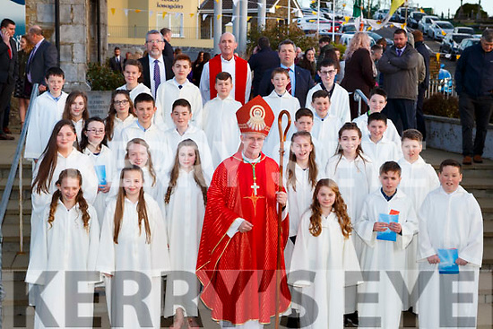 Pupils from Holy Family NS Rathmore NS with Bishop Ray Browne Diarmuid McCarthy Principal and Paudie Dineen teacher at their Confirmation in St Josephs church Rathmore on Tuesday