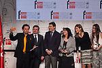 Princess Letizia of Spain, winners of the award and Madrid´s President Ignacio Gonzalez (3L) attend `El barco de vapor´ Awards ceremony at Real Casa de Correos in Madrid, Spain. April 01, 2014. (ALTERPHOTOS/Victor Blanco)