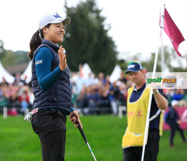 In Gee Chun (KOR) finishes with a score of -19 on the 18th green at the end of Saturday's Round 3 of The 2016 Evian Championship held at Evian Resort Golf Club, Evian-les-Bains, France. 17th September 2016.<br /> Picture: Eoin Clarke | Golffile<br /> <br /> <br /> All photos usage must carry mandatory copyright credit (&copy; Golffile | Eoin Clarke)