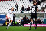 16.03.2019, Stadion Essen, Essen, GER, AFBL, SGS Essen vs TSG 1899 Hoffenheim, DFL REGULATIONS PROHIBIT ANY USE OF PHOTOGRAPHS AS IMAGE SEQUENCES AND/OR QUASI-VIDEO<br /> <br /> im Bild | picture shows:<br /> Torschuss Turid Knaak (SGS Essen #33), <br /> <br /> Foto &copy; nordphoto / Rauch