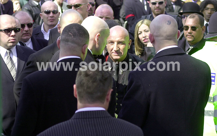 **ALL ROUND PICTURES FROM SOLARPIX.COM**.**WORLDWIDE SYNDICATION RIGHTS**.Reggie Kray attends brother Charlie Kray's funeral along with East End gangsters from past and present. The funeral was held at St. Matthews Church in Bethnal Green, London on 19th April 2000..This pic:  Dave Courtney.JOB REF:  8483   AB1       DATE: 19.04.00.**MUST CREDIT SOLARPIX.COM OR DOUBLE FEE WILL BE CHARGED**.**ONLINE USAGE FEE  GBP 50.00 PER PICTURE - NOTIFICATION OF USAGE TO PHOTO @ SOLARPIX.COM**