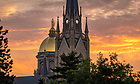 July 9, 2020; Dome and Basilica at sunrise (Photo by Matt Cashore/University of Notre Dame)