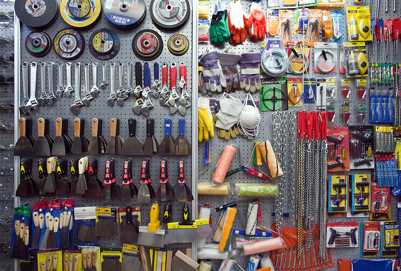 Various tools for sale in the Yiwu Small Commodity Market, the world's largest wholesalers market selling more than 17 million kinds of commodities that are exported all over the globe. More than 200 metric tones of goods are exported from Yiwu every day.